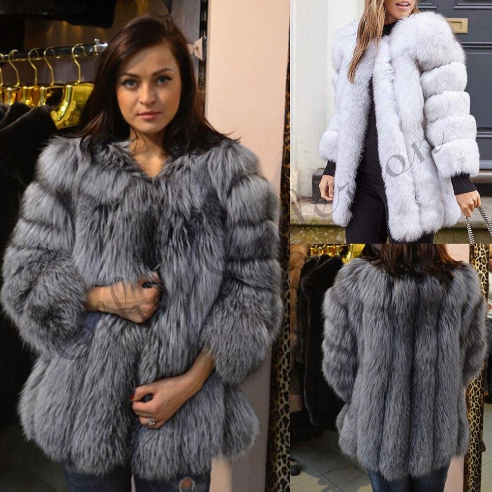 YR Lover Womens Slim Soft Real Rabbit Fur Coat