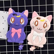 3D Luna Cat Silicone Phone Case For Coque Iphone6 6s 6plus Sailor Moon Hard Cell Phone Back Covers With Headphone Jack Dust Plug