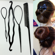 Fashion 4pcs/set Women Girls Fast Easy Magic Bun Princess Hairstyle Popular Hair Artifact Tool