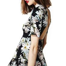 Women New Fashion Vivid Lily Printing Black Backless Half Sleeve Empire Waist  Sheath Skating Mini  Dress