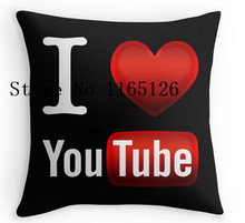 Hot Pillow casesI Love Youtube two sides printing Square Zippered Pillowcase free shipping(China)