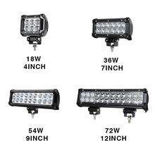 "RACBOX 4"" 7"" 9"" 12"" Inch 18W 36W 54W 72W LED Light Bar With CREE Chips Flood Spot White 12V 24V For 4WD ATV Tractor Work Lamp"