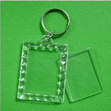 Free shipping 35pcs/lot Mini Rectangular lace Transparent Blank Insert Photo Picture Frame Key Ring Split keychain