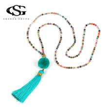 Buy GS Necklace Women Jewelry Statement Maxi Long Necklaces Boho Ethnic Pendant Handmade Beads Chain Gift for $3.59 in AliExpress store