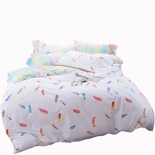 Kids bedding set colorful feather print duvet cover brief style coverlet pillowcase twin full queen cartoon designer bedroom set