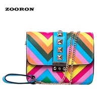 Women Handbags 2017 Popular Rivet Rainbow Bag Chain Satchel Bag PU Leather Shoulder Bag Cover Flap Messenger Handbags