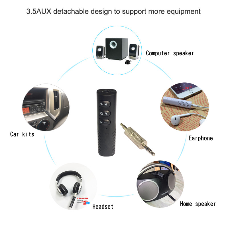 Universal 3.5mm jack Bluetooth Receiver Music Audio Receiver Adapter Hands free Car Kit for Speaker Headphone Car Stereo