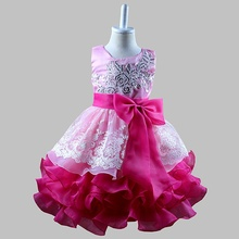 Kids Ceremonies Party Dresses Ruffles Children's Princess Wedding Gown Little Baby Girl Dress(China)