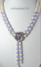 FREE SHIPPINGWhite Pearl Lavender   Heart  Crystal Pendant Necklace