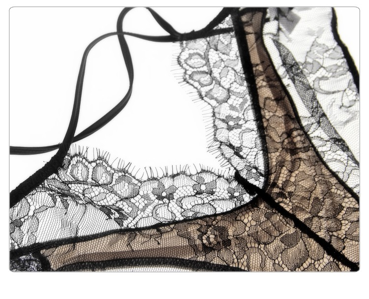 Munllure Ultra-thin sexy lace bra set eyelash lace transparent thin wireless triangle bra and pantiles set women underwear set 17