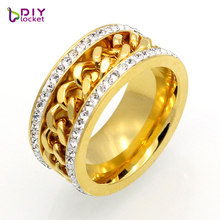 Fashion Luxury Design Nail Ring Unisex Jewelry Party Trendy Stainless Steel Chain Decorated Finger Ring with Rhinestones(China)