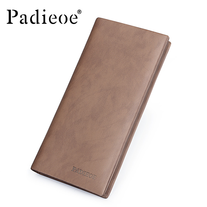 Padieoe Luxury Genuine Leather Mens Long Wallet Top Quality Durable Day Clutch Purse Fashion Vintage Male ID Card Holder Wallet<br>