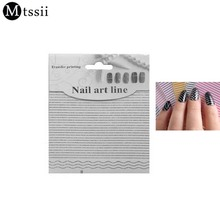 MTSSII New 3D Nail Art Sticker Water Decal DIY Strip Wave Dot Black White Lace Flower Nail Art Stickers Wraps Manicure(China)