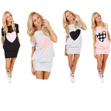 Tennis Dress Women Hips Length Sport Dress Heart Print Summer Short Sleeve Patchwork Pocket Black Pink Leisure Vestidos De Tenis