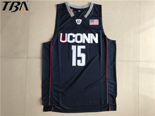2017 New Uconn #15 Huskies Kemba Walker Home Black Basketball Jersey For Men Embroidery Logos College basketball Jersey Retro(China)