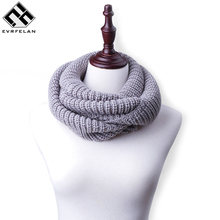 2017 New Winter Scarf For Women Warm Knitted Scarf Luxury Brand Comfortable Ring Scarves bandana Drop Shipping(China)