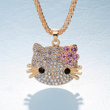 New Arrival Fashion Long Pendants Necklaces Fill Full Rhinestone Hello Kitty Bowknot KT Cat Jewelry For Girls Necklace