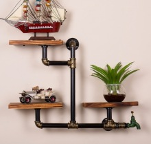 Loft Style Wall Pipe Racks Shelf American Retro Iron Bookshelf Cafe Club Theme Decoration