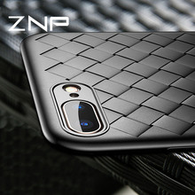 ZNP Luxury Silicone Case For iPhone 8 7 6 6S Plus X Weave Striae Ultra Thin Soft TPU Cover For iPhone X 10 8 7 6 6 Phone Case(China)
