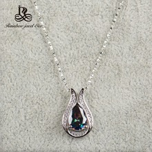 Wholesale 100% real 925 Sterling Silver pendant Brand TOP Quality Rainbow Fire Mystic Crystal Necklace for Women Gift Jewelry