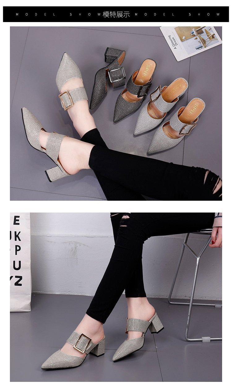 2019spring New Thick with Muller Shoes Women's High Heels Pointed Belt Buckle Back Air Slippers Elegant Temperament Baotou 1 Online shopping Bangladesh