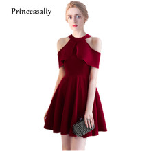 Vestido De Noiva New Wine Red Bridesmaid Dress Halter High Neck Chiffon Simple Elegant Homecoming Party Gowns Robe Do Soriee(China)