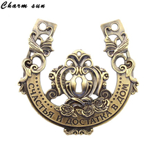 2015 Unique gift box packing/ popular gold-plated owl horseshoes/festival party decoration souvenir/sex metal craft/hope pendant