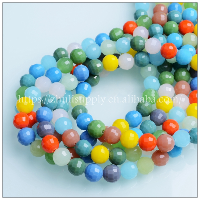 JuleeCrystal Mixed Color 96Faceted Crystal Round Beads 6/8/10mm Faceted Round Brilliant Shape Beads for Jewelry Making