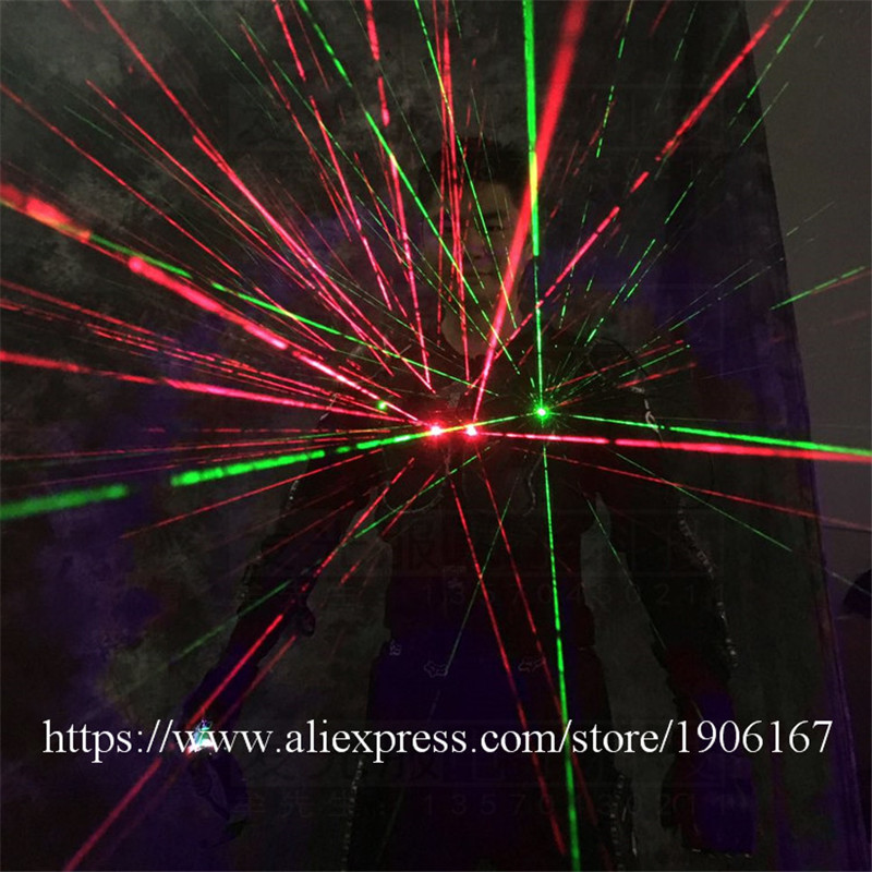 Ballroom dance led costumes luminous robot suit men led glasses green laser cloth dancer dj stage show wears laser gloves04