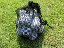 17.5*22.5cm Black Nylon Golf Ball Bag Mesh Nets Bag Pouch Golf Table Tennis 25 Balls Carrying Holder Storage Bag String Closure(China)