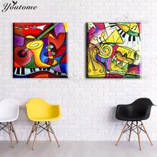 Modern Canvas painting Wall canvas art Oil Painting abstract colorful music instruments wall pictures home wall deco No Frame