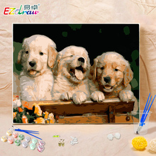 Painting By Numbers DIY Digital Oil Painting On Canvas Home Decoration 40x50cm MS8040 three puppies Frameless Pictures