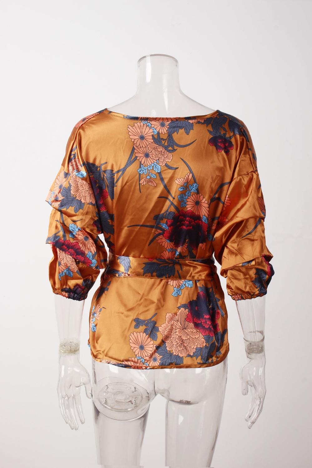 LOSSKY Women V-Neck Sexy Boho Blouse Print Floral Bandages Long Sleeve Blouse Bohemia Ladies Top Shirts Blouses Summer 2018 16