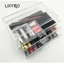 LIXYMO Cosmetic Makeup jewelry 3 layers 3 big drawers Organizer Storage Display Stand Case Rack Holder boxes acrylic clear 1pc(China)