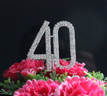 "Birthday Party Letter ""40"" Double Rows Rhinestone Diamante Monogram Cake Toppers For Wedding Decoration 1pcs"