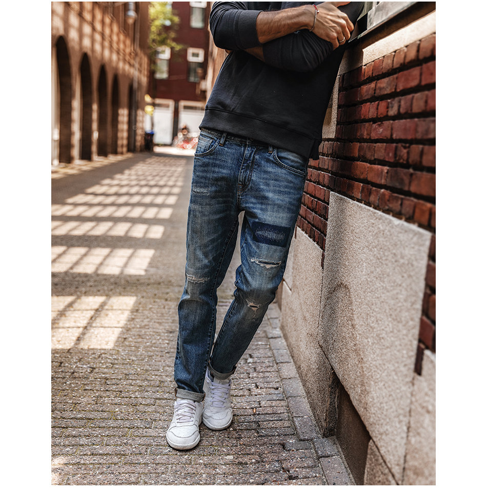 SIMWOOD 17 Autumn New Jeans Men Hole Ripped Slim Fit Denim Trousers Biker Jeans Skinny Brand Clothing High Quality NC017031 6