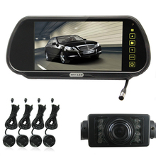 "2Sets Car Parking System With 7"" TFT LCD Mirror Monitor + 4 Radar Sensors + Rear view IR Night Vision Camera + Wireless Cable"