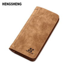 HENGSHENG New Fashion Wallet Men Wallet Men Purse Nubuck Leather Multifunctional Ultrathin Men Handbag Men Billfold Card holders