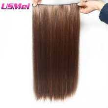 USMEI 60CM Full head Clip in Hair Extensions Multi-color brown false Synthetic Hairpieces 2-30# Straight 5 clips/PCS(China)