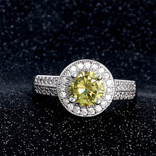 SHUANGR Wholesale Romantic Love Style Jewelry CZ Green Crystal Silver Ring Size 7 8 9 Women Bridal Wedding Jewelry(China)
