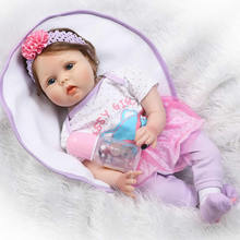 New Arrival Soft Silicone Reborn Baby 22 Inch Cloth Body Lifelike Baby Dolls With Fiber Hair Girl Bebe Alive Doll Xmas Gifts(China)