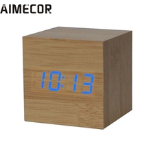 1PC Digital LED Bamboo Wooden Wood Desk Alarm Brown Clock Voice Control 2017 New Fashion 17APr30(China)