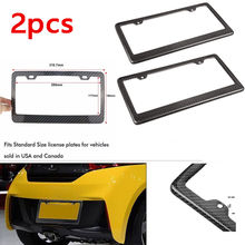Triclicks New JDM Front Rear Carbon Fiber Look USA/Canada License Plate Frame Tag Cover Holder For Auto Truck Vehicles Brackets(China)