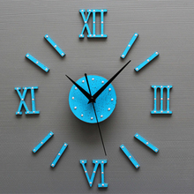 Fashion Clock Wall Stickers DIY Homey Design European Style DIY 3D Wall Clock Home Wall Stickers Decoration Art Clock Blue 2017(China)
