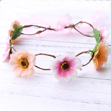 Handmade brided Rose Flower Garland Children Wedding Flower Girls  Headband Hairband Crown Wreath Headdress Tiara Hair Acessorie