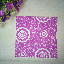 2packs(40 pcs)vintage table paper napkin tissue decoupage purple patterned floral birthday wedding cocktail party home decor mat