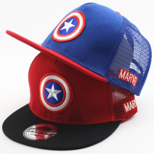 New Summer Childrens Boys&Girls Cartoon Captain America Snapback Flat Along the Adjustable Baseball Cap Hip Hop Hat Sun Mesh Cap