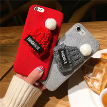EMIUP Phone Cases for IPhone 6 6s Plus Case Warm Fur Ball Plush 3D Hat Phone Case for Iphone 7 7plus Cases Luxury Back Cover(China)