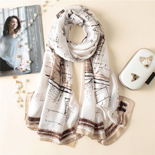 2018 Luxury Brand New Spring Women's Fashion Pure Silk Scarf Ladies' Printed Soft Foulard Shawls Pashmina Long Size Bandana(China)