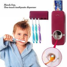 Toothbrush Wall Mount Rack Stand Home Automatic Toothpaste Dispenser+5 Toothbrush Storage Holder Set